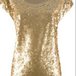MICHAEL by michael Kors gold sequin blouse